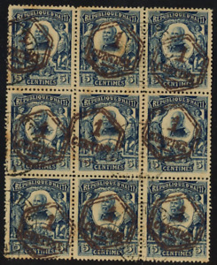 Haiti - Scott 154 / 1907, surcharge black, large block of 9 / used, Montès Coll.
