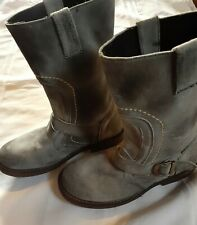 BED STU Distressed Gray Suede Leather Harness Boots, Women's Size 8.5
