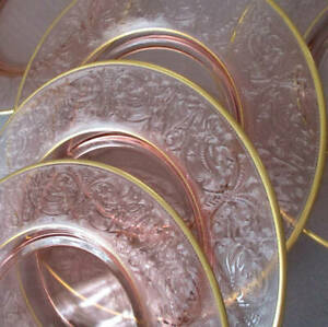 Set 12 Antique PINK Depression Glass Plates Embossed SCROLLS Ornaments GILT Trim
