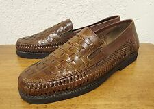 Men's Soft Stag Sol Hand Woven Slip-on Brown Leather Loafer Shoe - Size 9.5M