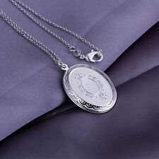 925 Silver Plt Open Oval Round Photo Picture Locket Pendant Necklace Ladies a