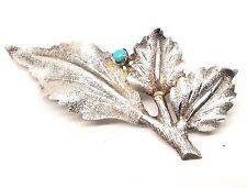 Vtg Sterling Silver Ornate Leaf Brooch Pin Estate 3D Textured Turquoise Stone