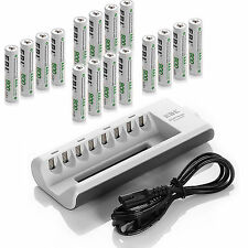 16x AAA 800mAh NI-MH Rechargeable Batteries + 8-channel AA AAA Battery Charger