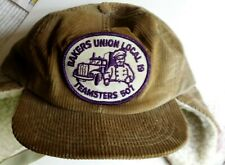 Vintage Corduroy Hunters' Cap: Bakers Union Local 19 Teamsters 507 - Adjustable