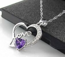 "1.0TCW Heart Love Amethyst Diamond S925 sterling silver necklace 18"" Chain-NL66"