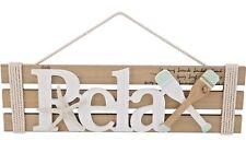 RELAX Wood Slat Wall Hanging Sign Plaque Starfish Oars Nautical Beach Coastal