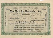 New York In Mexico Co., Inc. > 1918 New York old stock certificate share