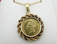 1858 $1 Indian Head Gold Dollar Type 3 Pendant - 14K Yellow Gold Bezel.