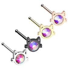 KITTY CAT FACE 20G NOSE RING STUD BONE STEEL PIERCING JEWELRY 4 Colors Available