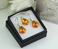 925 SILVER EARRINGS/SET MADE WITH SWAROVSKI CRYSTALS 16mm BAROQUE - TOPAZ AB
