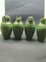Rare Antique  Canopic Jars Egyptian Set of 4  Decorative Collectibles,Faience bc