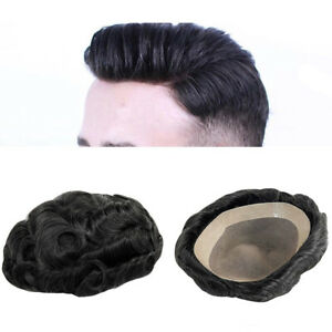 Mens Toupee Human Hair Replacement Remy Hairpiece Fine Mono Poly Skin System