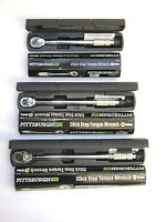 "Set of 3  Pro Reversible Click Type Torque Wrench Sizes 1/4"", 3/8"", 1/2"""