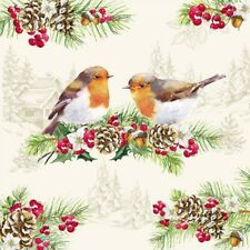 4 Vintage  Paper Napkins for Party Lunch Decoupage Christmas Little Sweet Birds