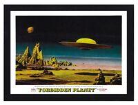 Framed Forbidden Planet Flying Saucer Film Poster A4 Size In Black / White Frame
