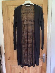 Gharani Strok Black Full Length Crochet Back Long Cardigan Size 10/12