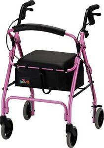 Rollator Walker Folding Seat Wheels Adult Senior Medical Rolling Durable Pink
