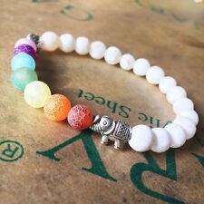 7 Chakra Healing Balance Elephant Charm White Scrub Stone Beaded Yoga Bracelet