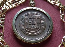 "1918 Portugal Copper 2c Antique Coin Pendant w 24"" 18k Gold Filled Figaro Chain"
