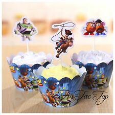 12 Toy Story Cupcake Topper + 12 Wrapper. Cake Lolly Loot Bag Party Supplies