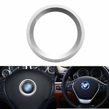 Silver Alloy Car Steering Wheel Center Decor Ring Cover 3M For BMW Accessories