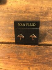 Umbrella Earrings 14k Gold filled Studs Vintage New Old Stock