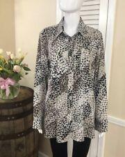 Ellen Tracy Women's Sz M Print Blouse Long Roll Sleeve Button Up Career Collar