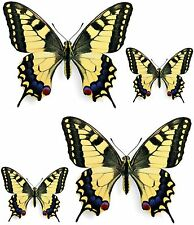 Set 4x sticker decal car laptop macbook kitchen butterfly yellow blue red vinyl