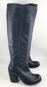 Schuh size 6 (39) black leather block heel pull on knee high boots