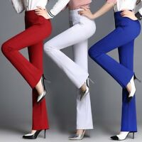 Office Women's OL High Waist Stretchy Flared Pants Casual Trousers Bell-Bottoms