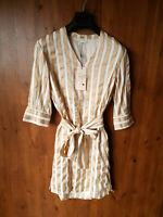 RRP £95 - SELECTED FEMME SHIFT DRESS Gold Cream Striped UK 8 / 34/36 - NEW