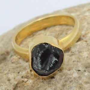 Natural Rough Amethyst February Birthstone Yellow Gold Plated Rings For Her
