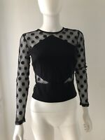 Marciano Women's Top Blouse Black Transparent Polka Dot Sleeves Full Zip XS