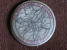 All Roads Lead to Spokane WA-the Power City/Map of Railroad Routes/1896 Pinback