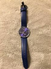 Unisex Fashion  Small Wrist Watch Dark Blue Leather Strap