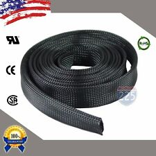 """10 FT. 1"""" Black Expandable Wire Cable Sleeving Sheathing Braided Loom Tubing US"""