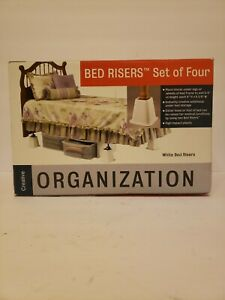 Bed Risers Set of 4 in New in Box by Creative Organization - White