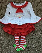 New Mud Pie Santa Christmas Ruffle Shirt Red Skirt Tights Outfit Set 0-6 Months