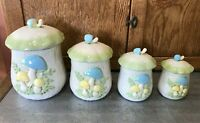Vtg 1974 Ceramic Mushroom Canister Set Studio Hand Painted No Chips SO CUTE