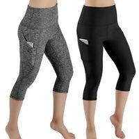 Damen 3/4 Capri Leggings Kurz Leggins Tasche Hose Sport Yoga Fitness Jogginghose