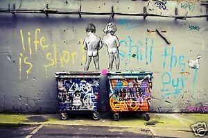 not a banksy  life is short CANVAS ART STREET URBAN PRINT painting