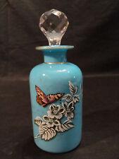 Blue OPALINE Art Glass Enameled Perfume / Cologne Bottle, c. 1890