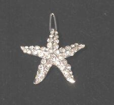 Womens Starfish Hair Clip Barrette silver Tone Clear Rhinestones Sparkle