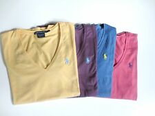 RALPH LAUREN womens pima cotton v neck short sleeve pony t shirt 4 colors NWT