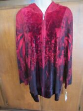 Style&Co Women's velour red / black hoodie, Long Sleeve, no pockets, Size L