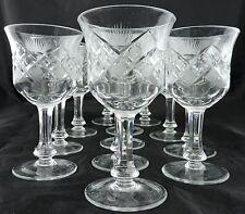 VINTAGE CUT GLASS OR CRYSTAL WINE/DRINK GOBLET SET 12 FLARE CRISS CROSS ETCHED