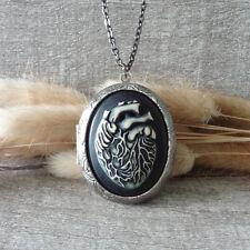 Silver Tone Locket Pendant Anatomical Heart Statement Necklace Handmade