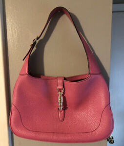 Authentic Gucci Pink Pebbled Leather Jackie O 1961 Bag EUC