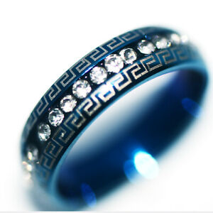 Blue Stainless Steel Rings Man Mens Womens Ring Jewelry Party Hip Hop Size 9
