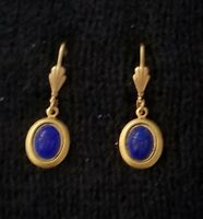 Vintage BLUE SCARAB EARRINGS Pierced Ears NOS Egyptian Revival